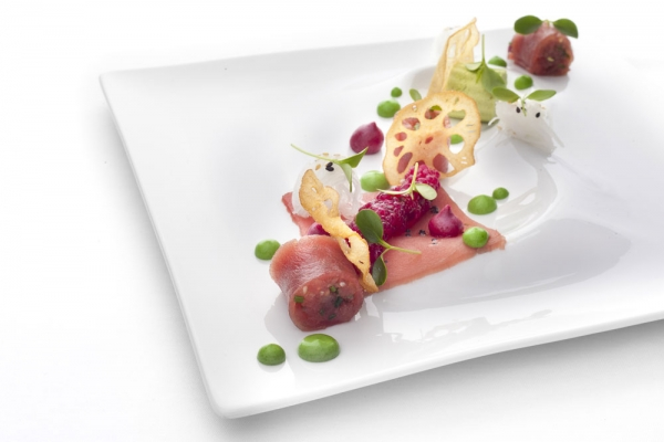 Radisson Blu Alcron hotel, Alcron - Tuna sashimi with tapioca, daikon and parsley mayonnaise